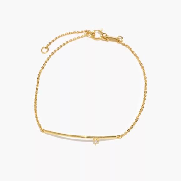 Madewell Demi-Fine White Topaz Bar Chain Bracele